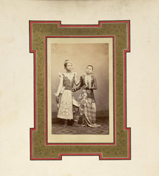 Studio portrait of two Burmese dancers. 4364